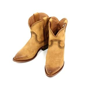 NEW- FRYE Billy Short Boots Distressed Cognac